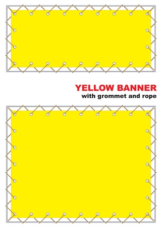 rope vector: Yellow banner with grommet and rope. Vector illustration.