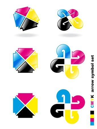 offsetdruck: CMYK-Pfeil-Symbol gesetzt. Vektor-Illustration.