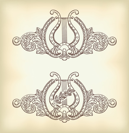 The ancient lyre and decorative elements. Symbol of art. Vector illustration. Vector