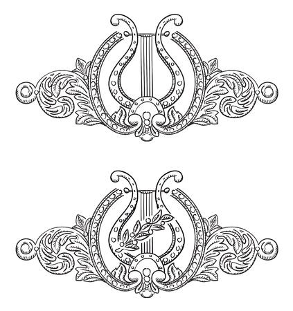 Lira antigua y elementos decorativos. Símbolo del arte. Ilustración vectorial.