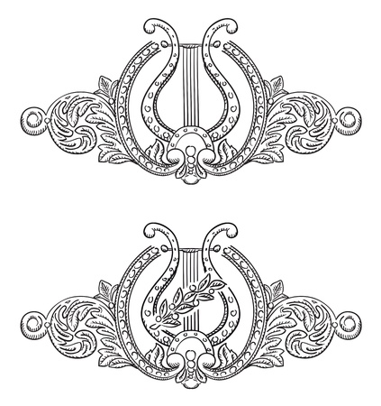lyre: Ancient lyre and decorative elements. Symbol of art. Vector illustration.