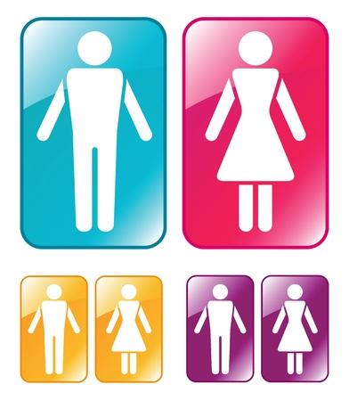 Macho y hembra signo WC. Ilustración del vector.
