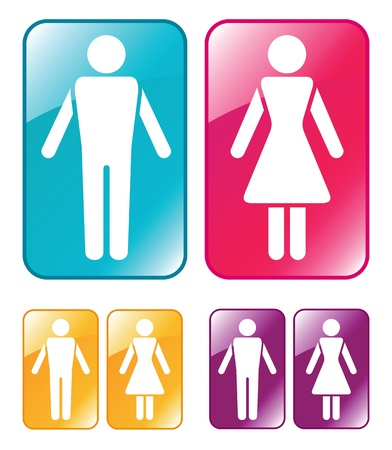 kleedkamer: Mannelijke en vrouwelijke toilet teken. Vector illustratie. Stock Illustratie