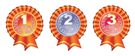 second place: Gold, silver and bronze glossy medals with ribbons. Vector illustration.
