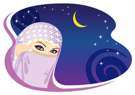Muslim woman and arabian night. Vector illustration. Illustration