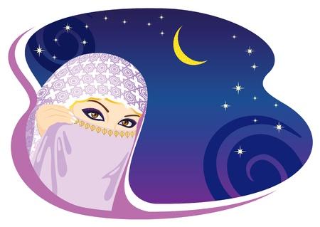 arabian background: Muslim woman and arabian night. Vector illustration. Illustration
