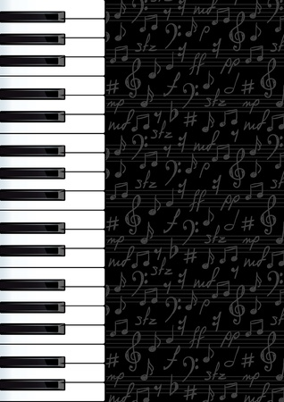 Abstract background with piano keys and musical symbols. Vector illustartion. Illustration