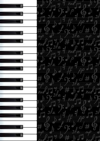 simbolos musicales: Resumen de fondo con las teclas del piano y s�mbolos musicales. Vector illustartion.