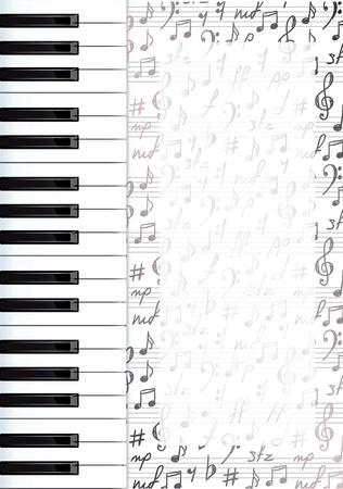 notas musicales: Resumen de fondo con las teclas del piano y s�mbolos musicales. Vector illustartion.