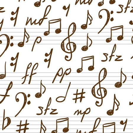notes music: Seamless abstract background with music symbols. Vector illustration. Illustration