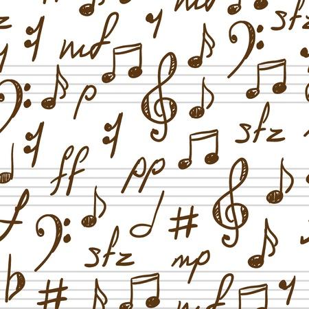 note musicali: Seamless sfondo astratto con simboli musicali. Illustrazione vettoriale.
