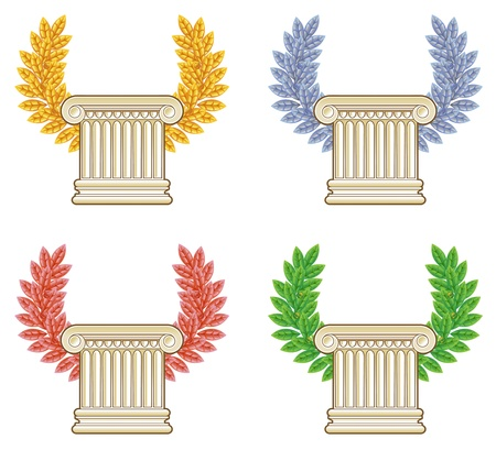 laurel leaf: Gold, silver, bronze and green laurel wreath with a Greek column. Vector set.