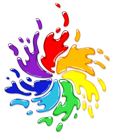 rainbow circle: Rainbow splash with swirl. Vector illustration.