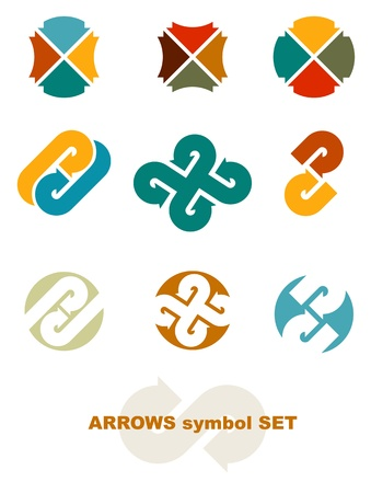 with sets of elements: Symbols with arrows. Vector illustration.