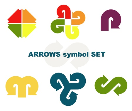 Symbols with arrows. Vector illustration.