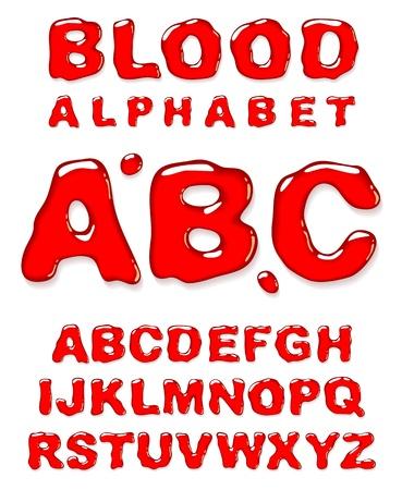 alfabético: Blood alphabet. Vector letters set.