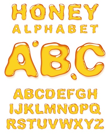 write letter: Honey alphabet. Vector letters set. Illustration