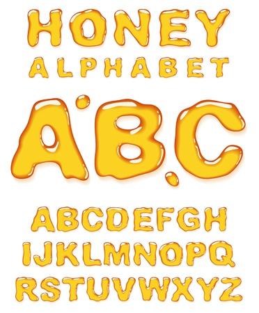 pila bautismal: Miel alfabeto. Las cartas vectoriales establecido.