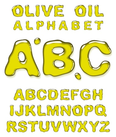 Olive oil alphabet. Vector letters set. Vector