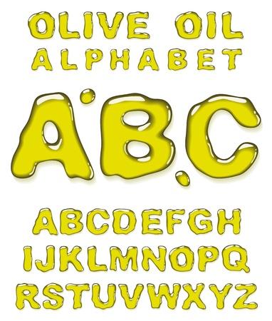 olive oil: Olive oil alphabet. Vector letters set.