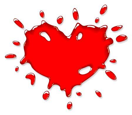 Rood hart splash. Vector illustratie.