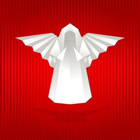 paper flying: White origami angel on red background. Vector illustration.