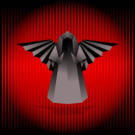 Black origami angel. Vector illustration. Vector