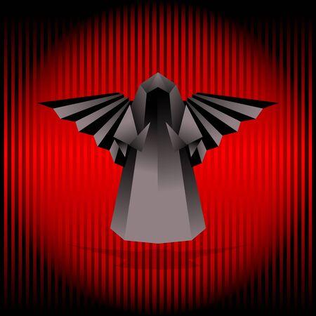 Black origami angel. Vector illustration. Stock Vector - 11599436