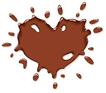 チョコレート スプラッシュ ハート。ベクトル イラスト。