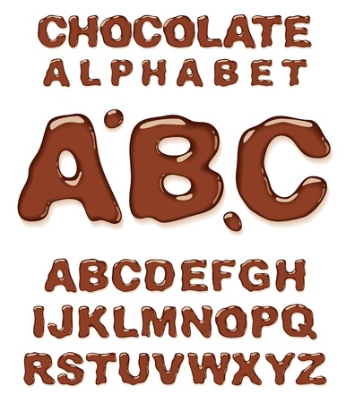 fudge: Chocolate alphabet. Vector illustration.