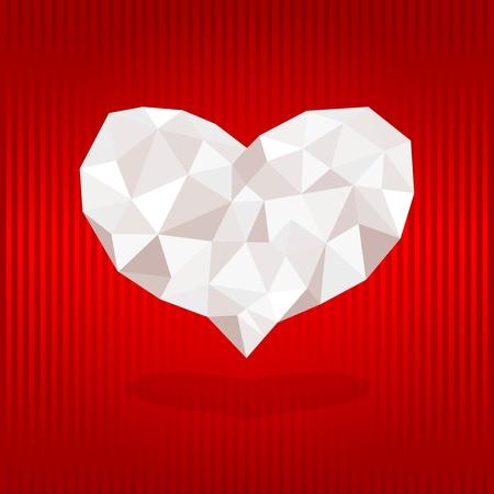 aerodynamics: Origami heart on red background. Vector illustration.