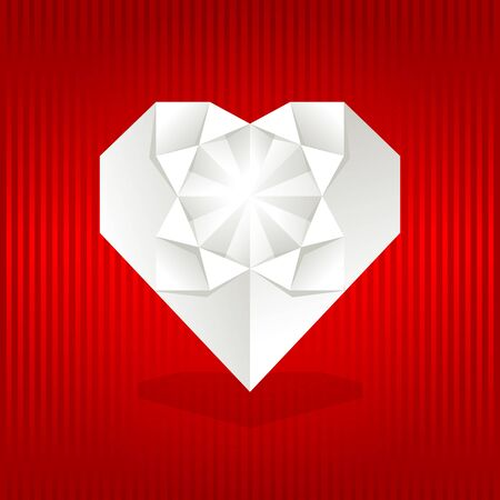 Origami heart on red background. Vector illustration. Vector