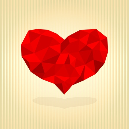 amore: Red origami heart. Vector illustration. Illustration