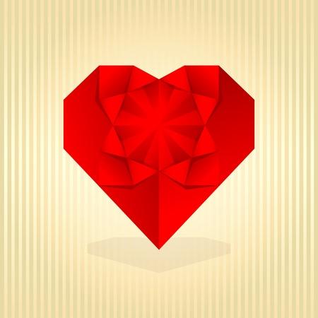 Red origami heart. Vector illustration. Vector