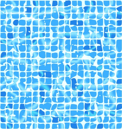 Blue ceramic tiles with sunlight riple. Underwater vector background. Vector