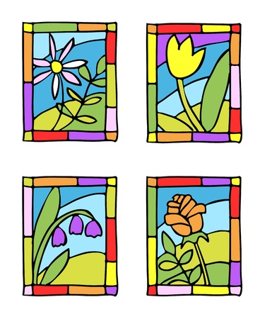 colored window: Simple spring flowers. Styled stained glass. Vector illustration.