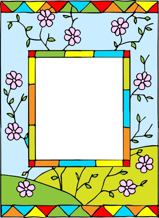 Frame with spring flowers. Styled stained glass. Vector illustration.