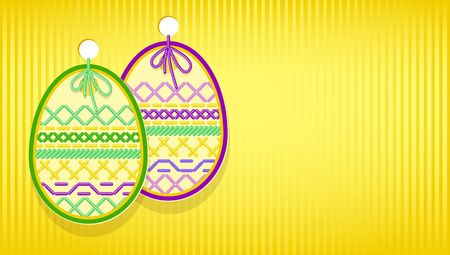 religious event: Easter card with egg and embroidery.  Illustration