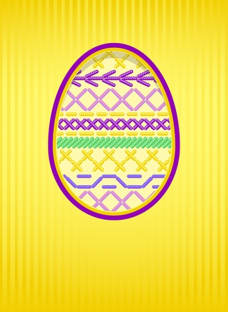 Easter card with a hole and embroidery.  Vector