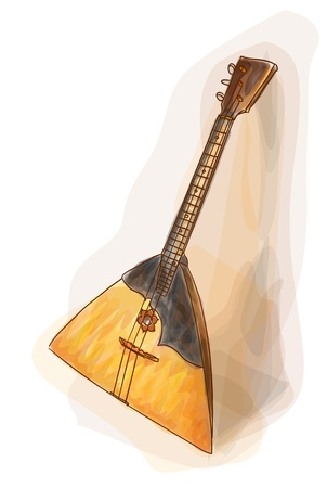 balalaika: Balalaika - a national Russian musical instrument. Watercolor style.