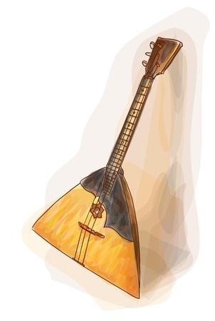 Balalaika - a national Russian musical instrument. Watercolor style. Stock Vector - 12492499