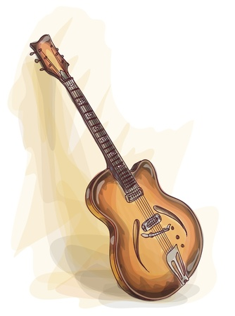 retrospect: Bass Guitar. Watercolor style. Vector illustration.