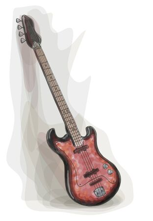 string instrument: Bass electric Guitar. Watercolor style. Vector illustration.