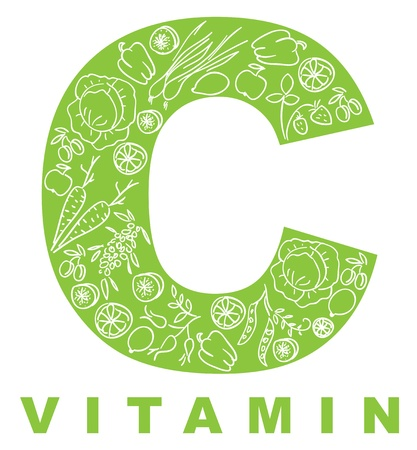 Vitamin C. The form C filled with meal. Illustration
