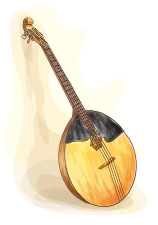 folk music: Slavic traditional musical instrument - domra. Watercolor style. Vector illustration. Illustration