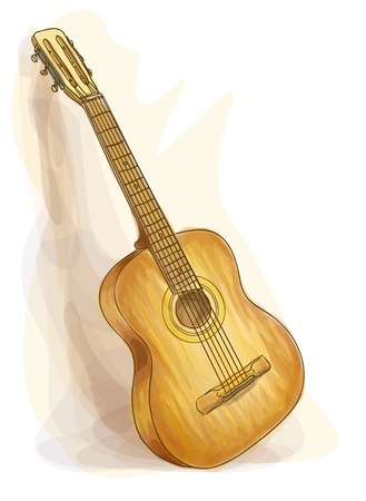 stringed: Guitar. Watercolor style. Vector illustration.