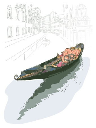 venezia: Gondola. Watercolor style. Vector illustration.