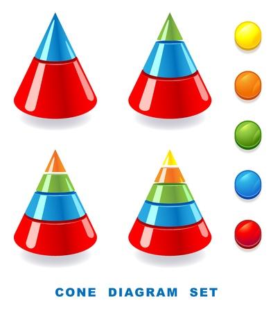 Cone diagram set. Vector illustration. Ilustracja