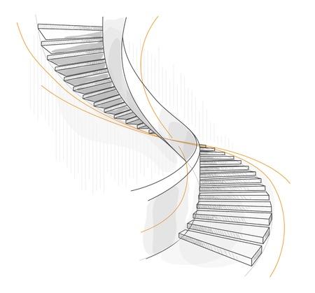 Esquisse d'un escalier en colimaçon. Vector illustration.