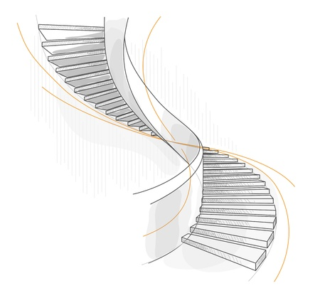 concrete stairs: Sketch of a spiral staircase. Vector illustration.